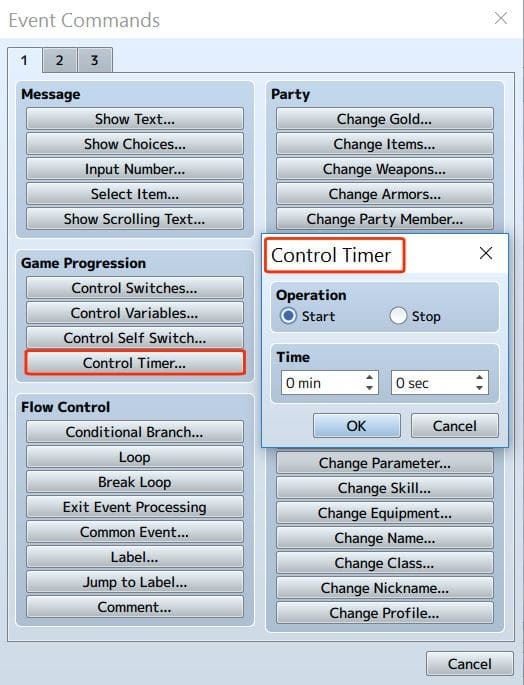 event settings for control timer