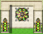 stained glass medallion window